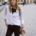 Leather Pants & White Button Down in Paris
