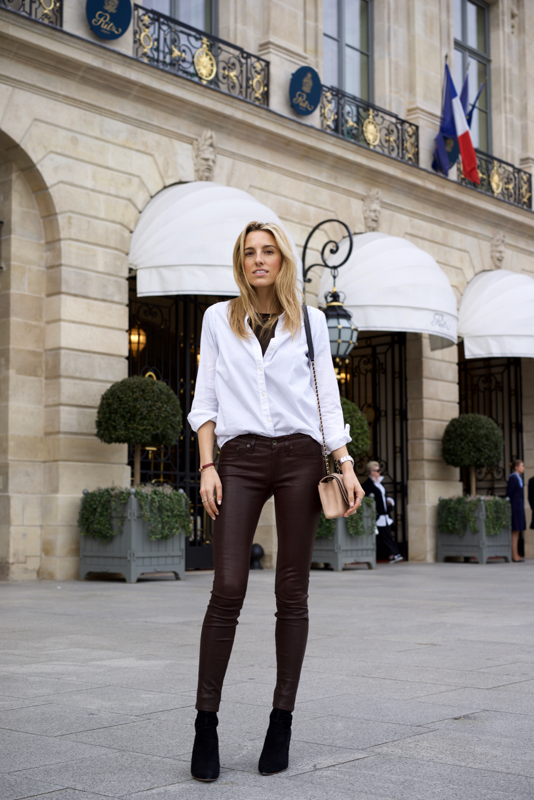 Chanel Spring 2017, Leather Pants, Paris Fashion week street style, Ritz
