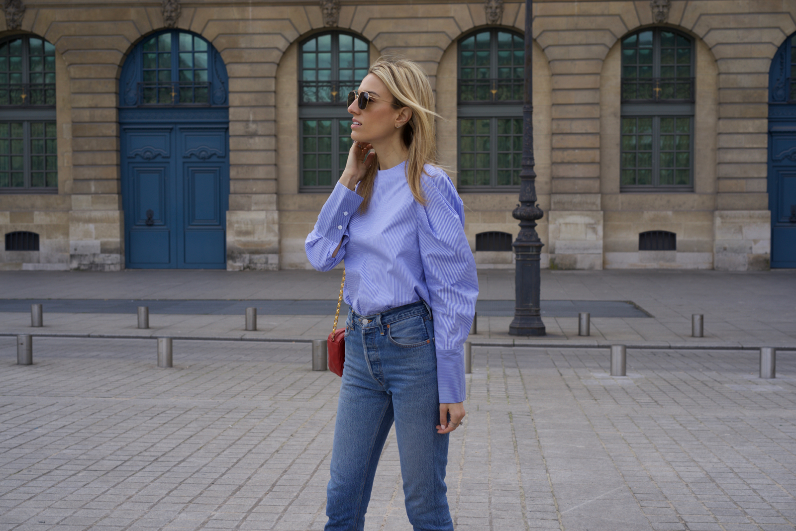 Paris Fashion Week Street Style, PFW, Striped Poplin shirt, Levi's, Chanel, Paris Travel