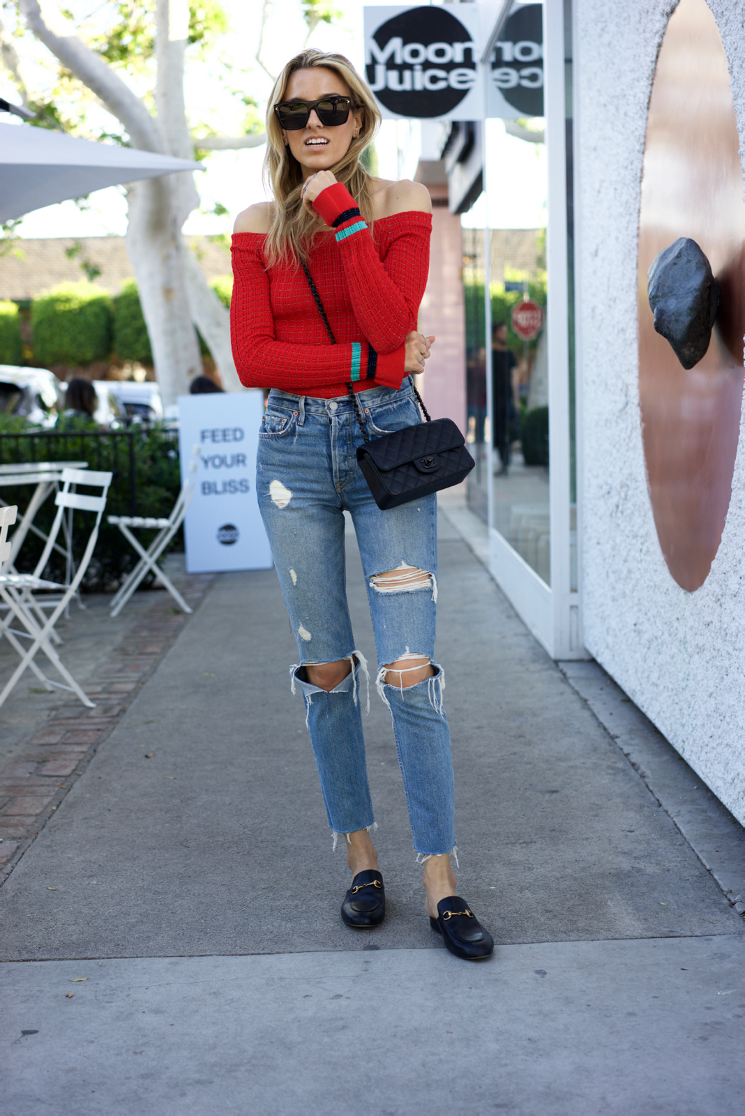 Red top, Spring Trends, Grlfrnd Denim, Gucci Shoes