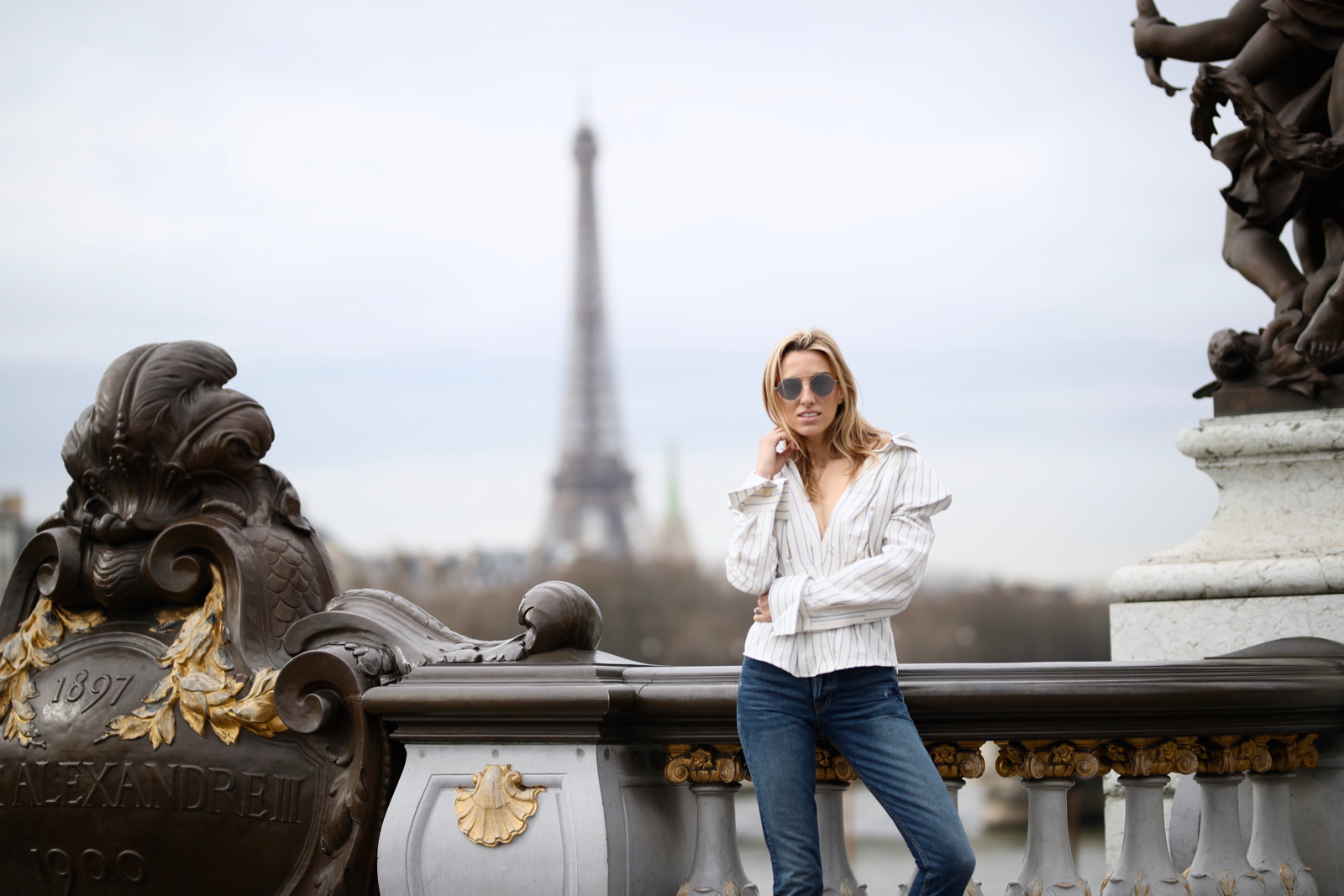 Alexander III Bridge - Paris, Travel, Jacquemus top, Grlfrnd Denim, White pumps