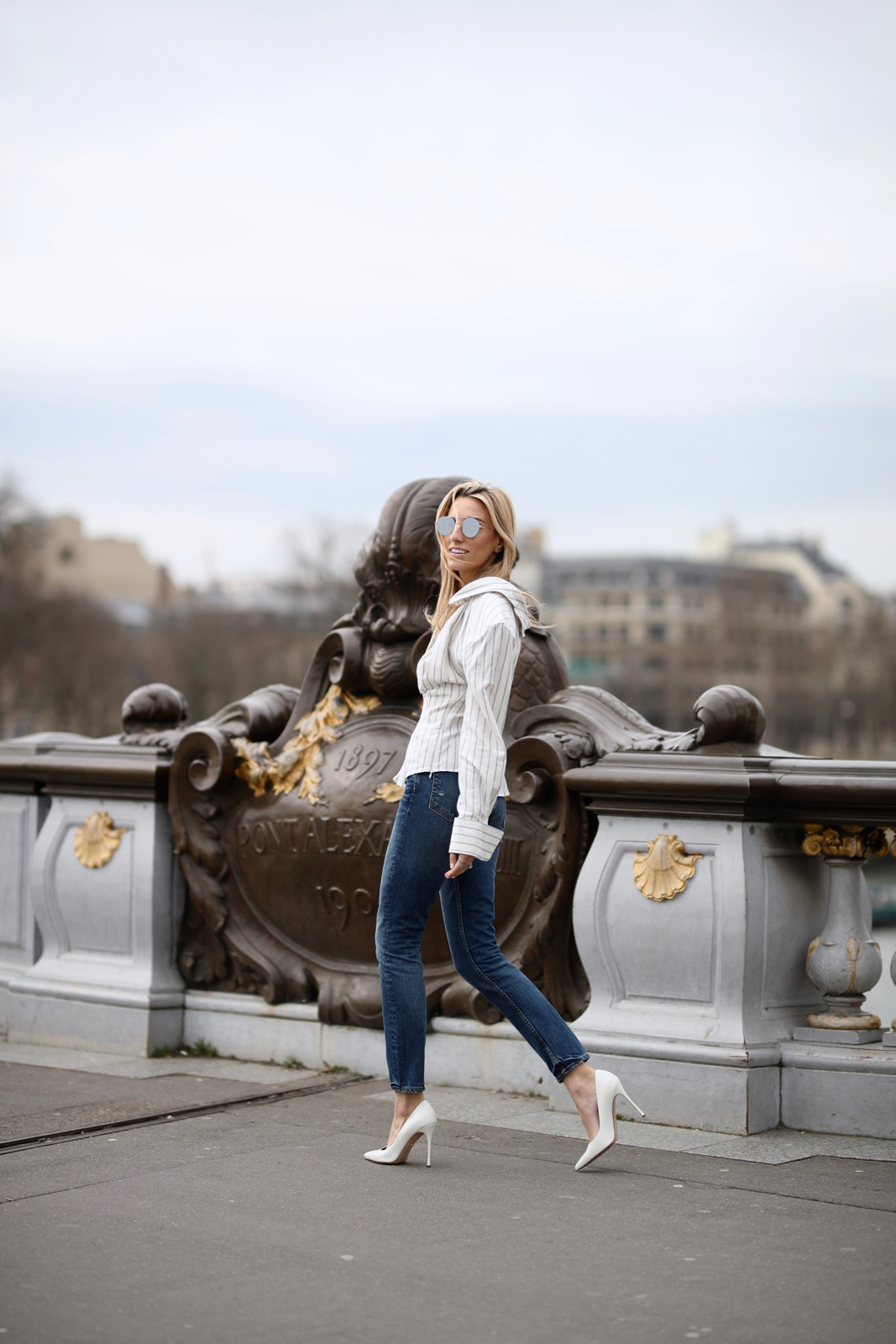 Alexander III Bridge - Paris, Travel, Jacquemus top, Grlfrnd Denim, White pumps, paris travel