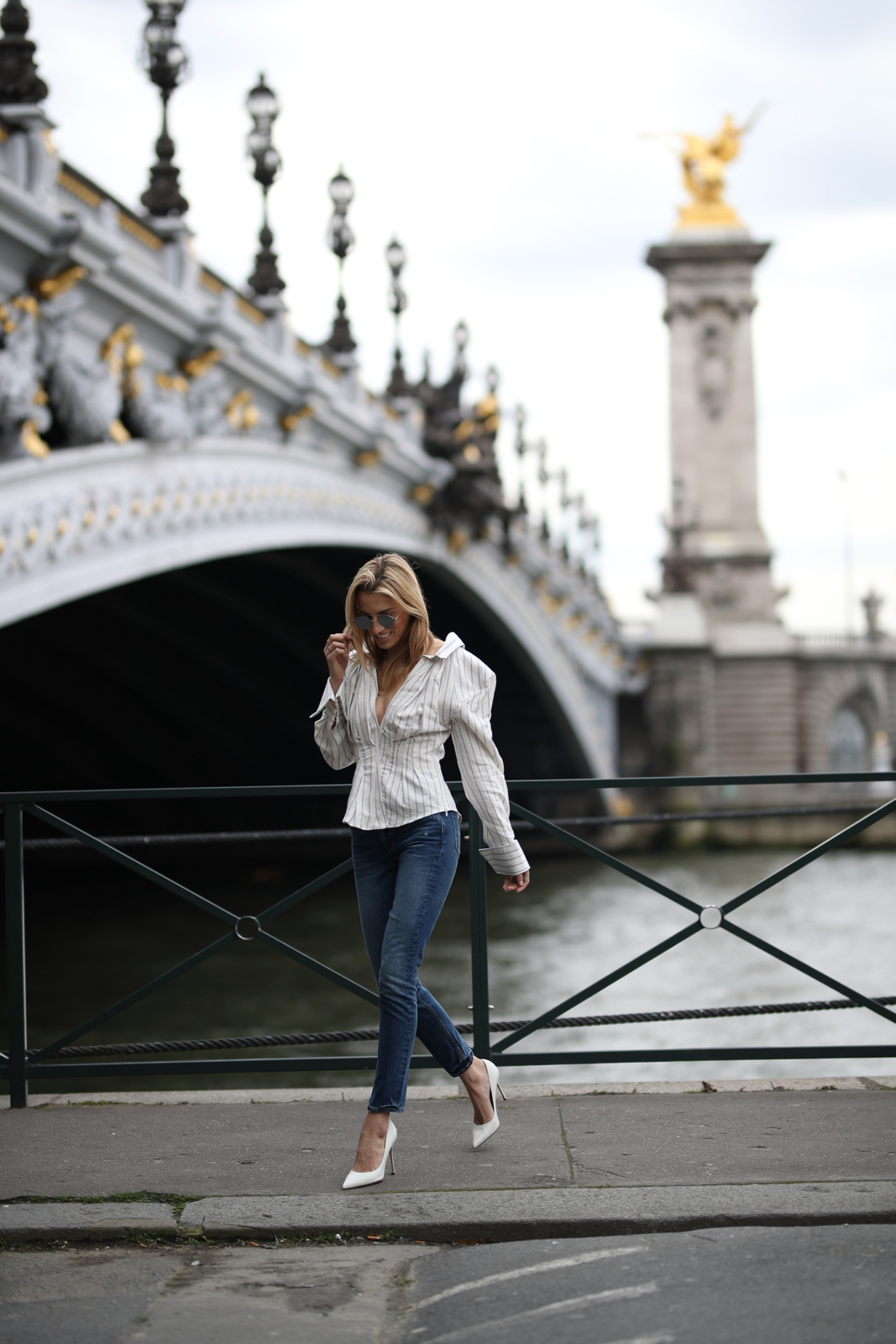 Alexander III Bridge - Paris, Travel, Jacquemus top, Grlfrnd Denim, White pumps, Paris Fashion Week