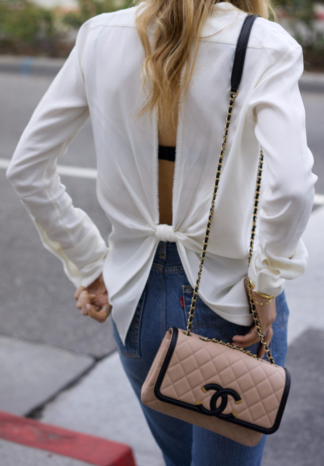 Helmut Lang Open Back Top, Levi's Jean, Chanel shoes and bag, Givenchy, Gianvito Rossi Shoes