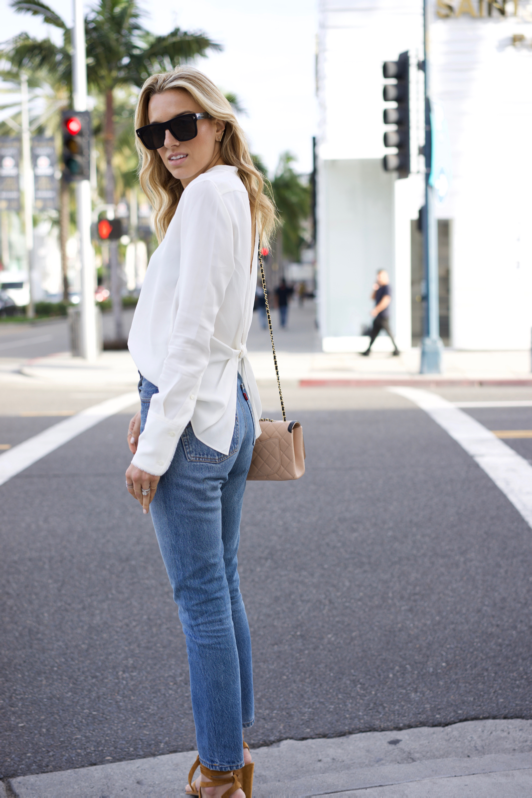 Helmut Lang Open Back Top, Levi's Jean, Chanel shoes and bag, Givenchy, Gianvito Rossi Shoes, Los Angeles, California