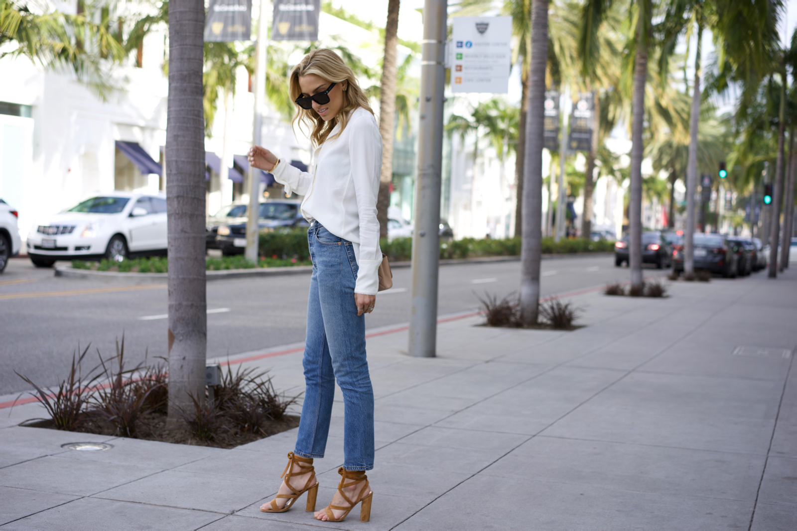Helmut Lang Open Back Top, Levi's Jean, Chanel shoes and bag, Givenchy, Gianvito Rossi Shoes, California, Rodeo Drive