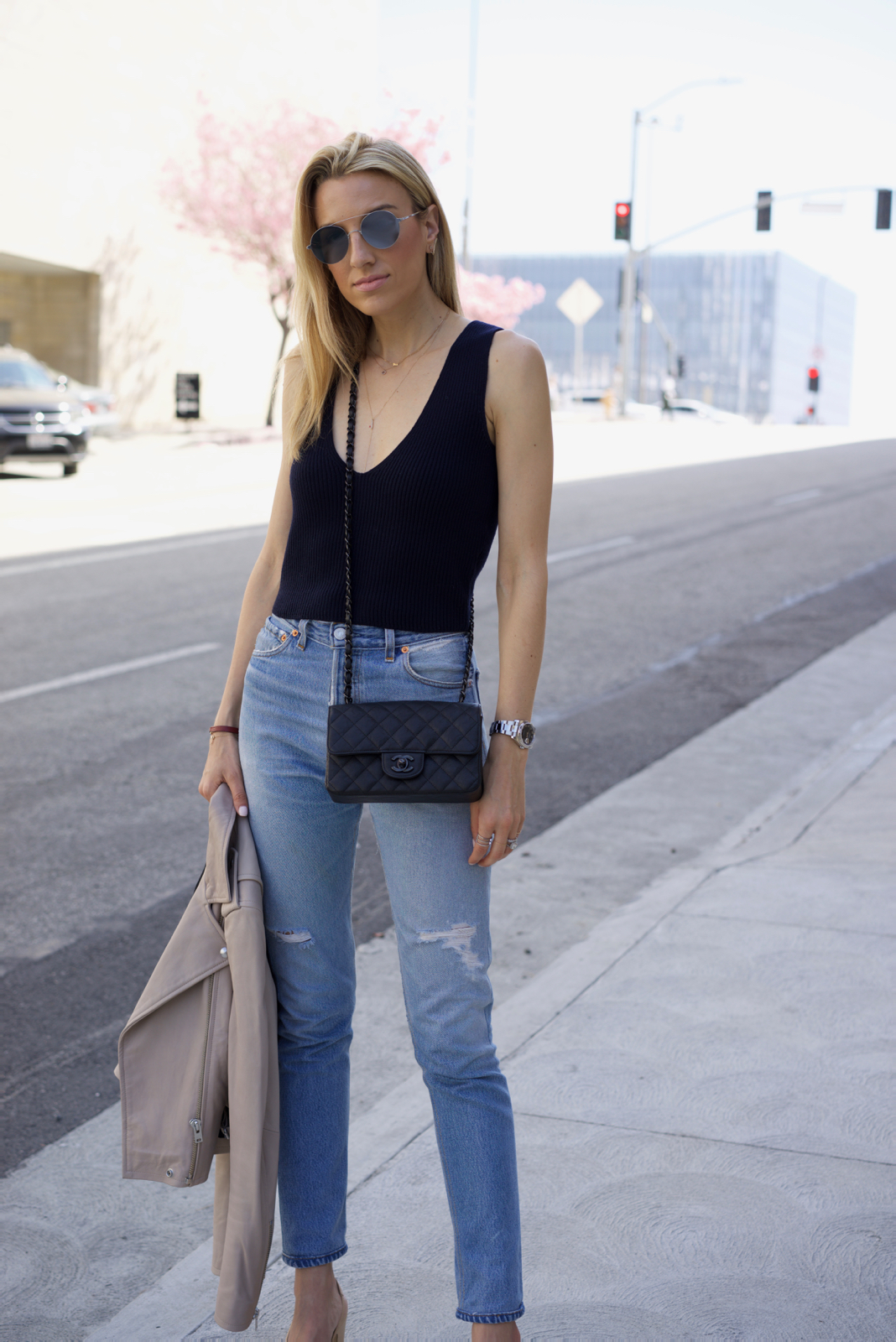 Khaite top, Levi's, Chanel bag, Chanel Shoes, Spring Outfit