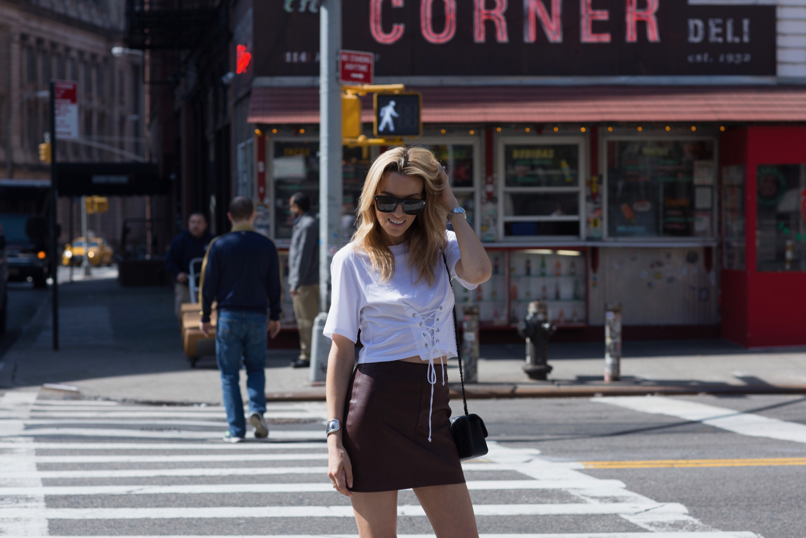 Self-Portrait x Robert Clergerie pumps, Corset tee, leather skirt, givenchy sunglasses, Chanel, Best Restaurants in NYC