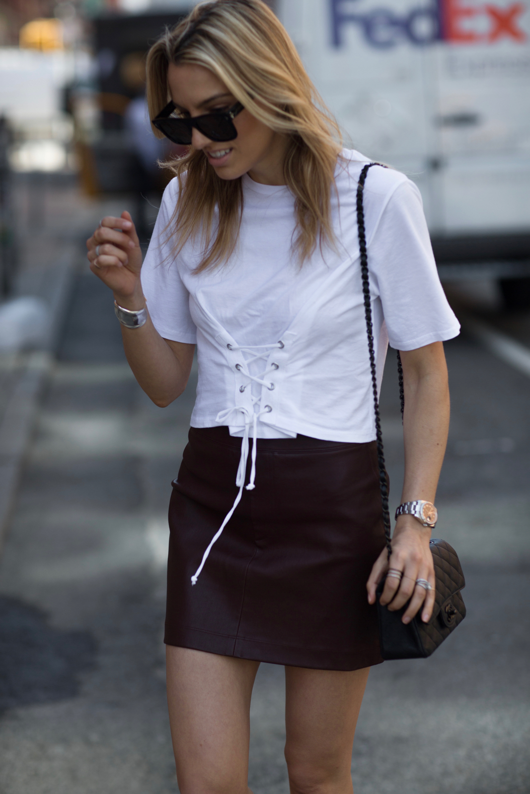 Self-Portrait x Robert Clergerie pumps, Corset tee, leather skirt, givenchy sunglasses, Chanel, spring trends