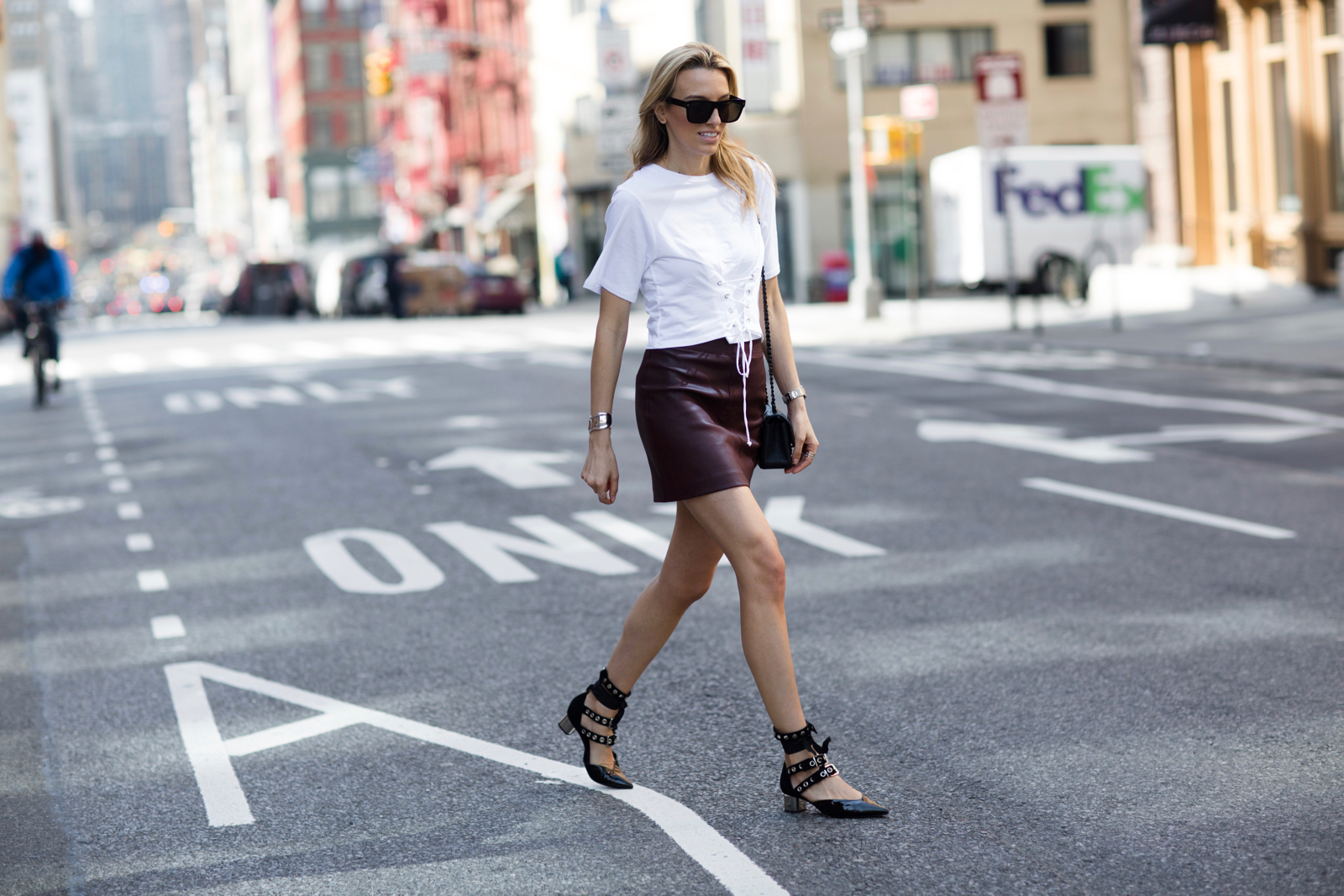 Self-Portrait x Robert Clergerie pumps, Corset tee, leather skirt, givenchy sunglasses, Chanel