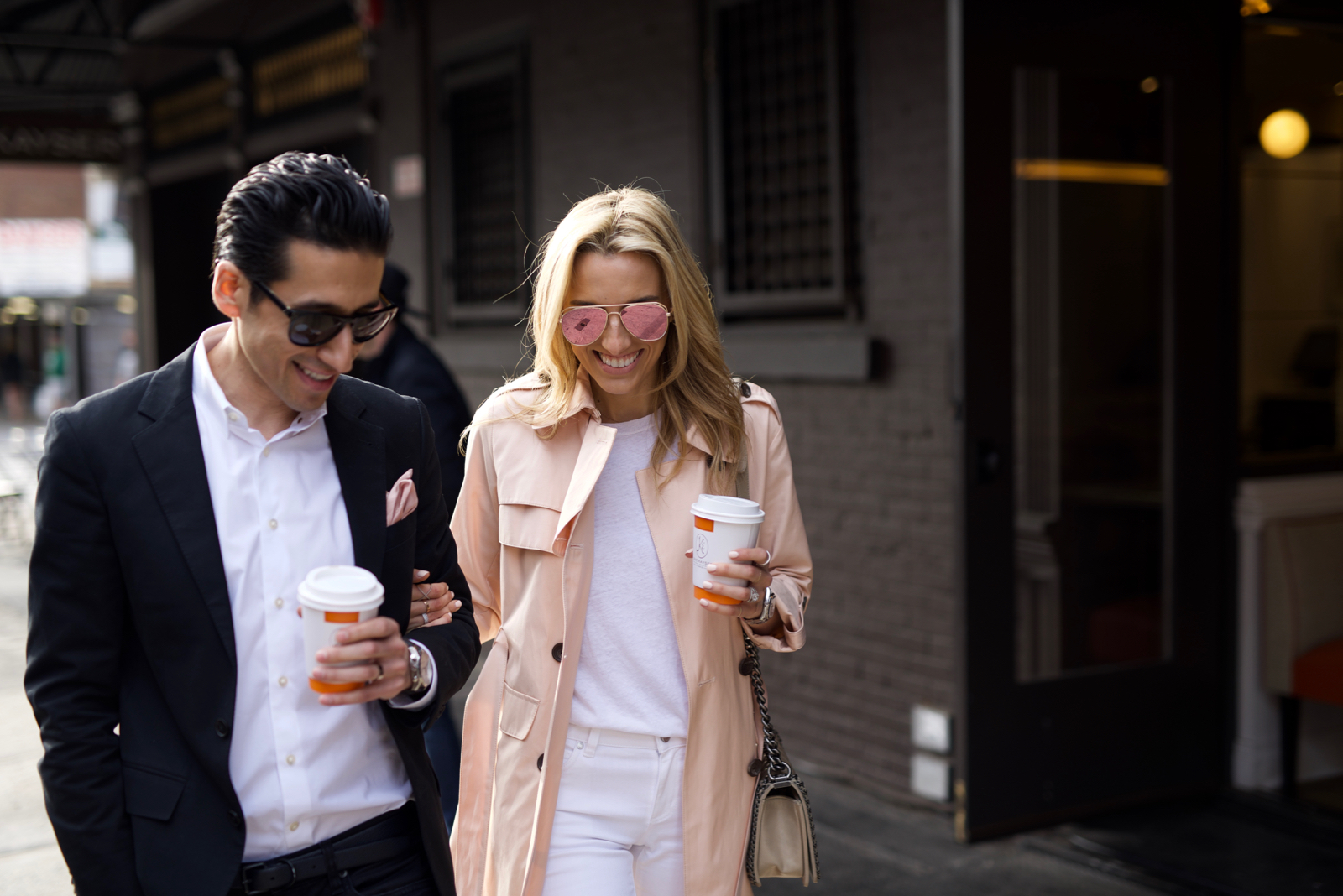 Vince Camuto, PInk Trench, All White, Couple Goals, Couple Fashion