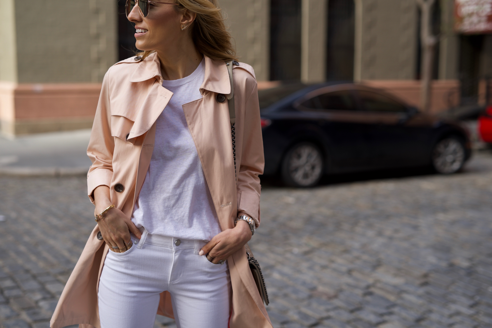 Vince Camuto, PInk Trench, All White