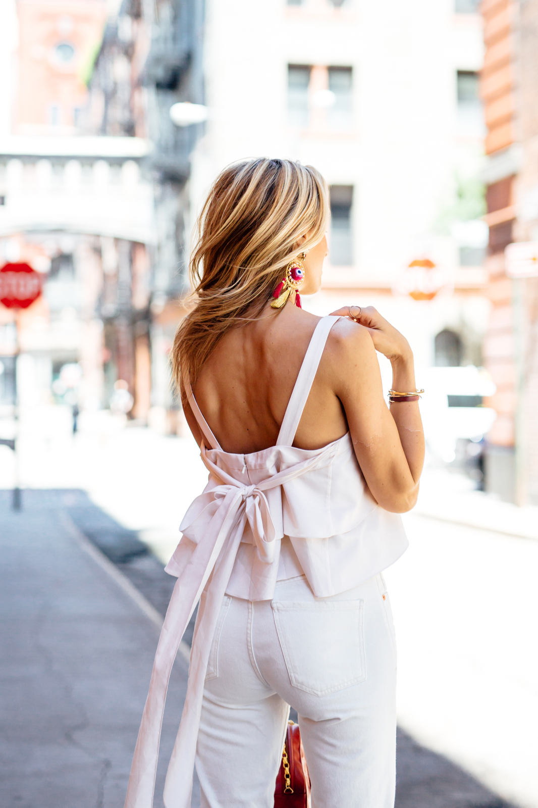 Bow top, ruffle tiered, all white outfit