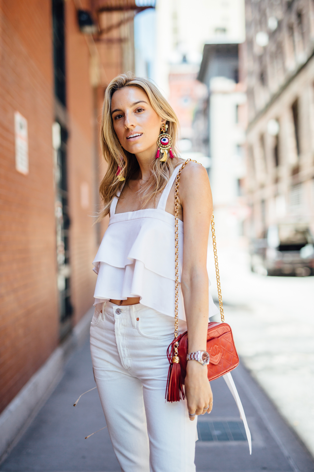 All White Outfit, How to Wear All White, Chanel Vintage, Ruffle top, white jeans, Skin, Statement earrings