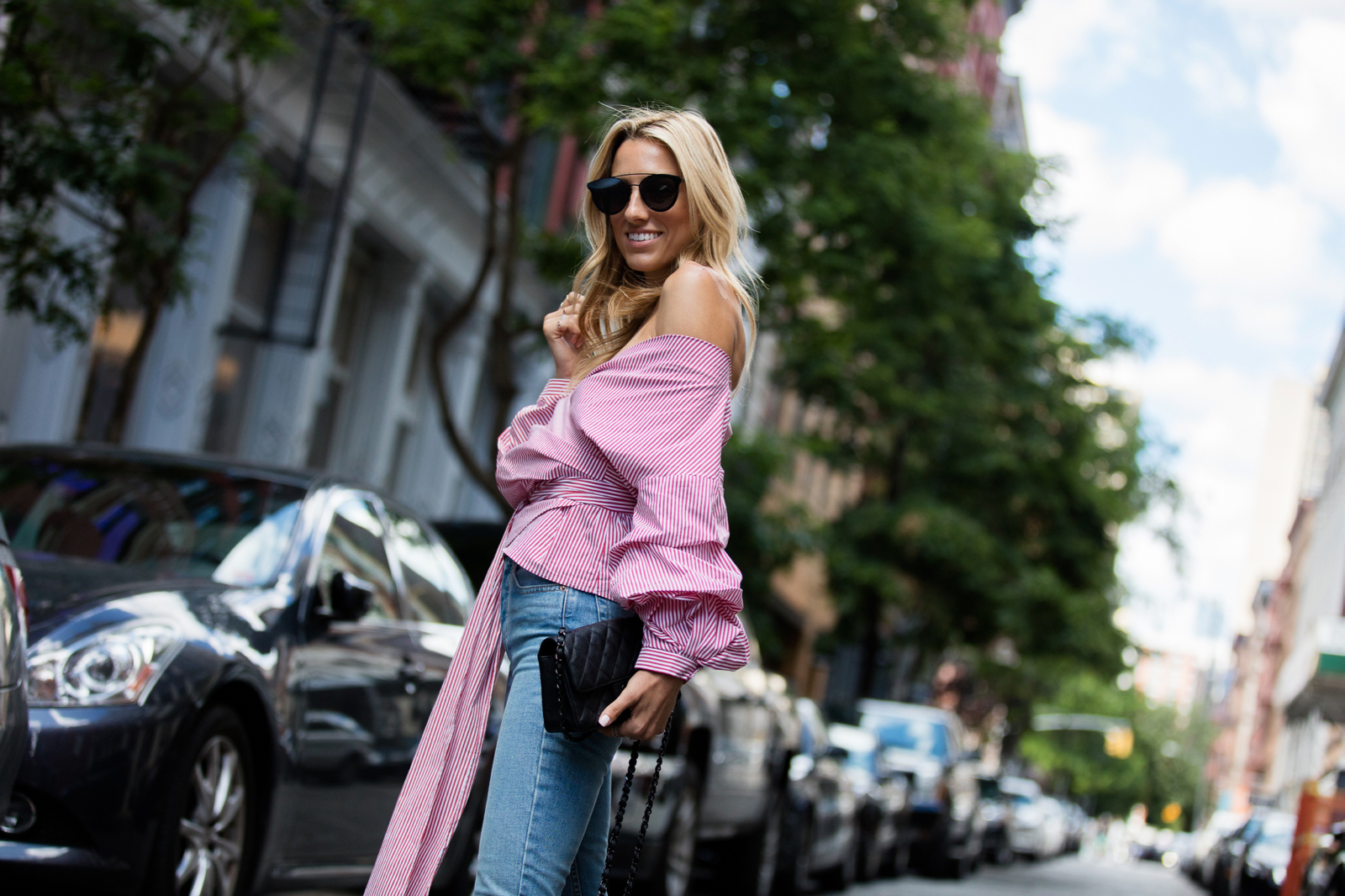 Must have tops for Summer 2017, Red Stripes, Chanel Bag, Alexander Wang shoes, Re-Done jeans