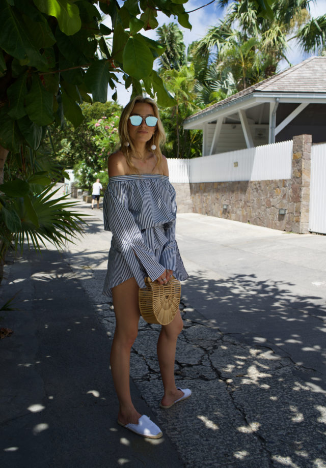 Faithfull the brand striped romper, St. Barths, Travel, Summer Outfit, Cult Gaia, Dior, Soludos