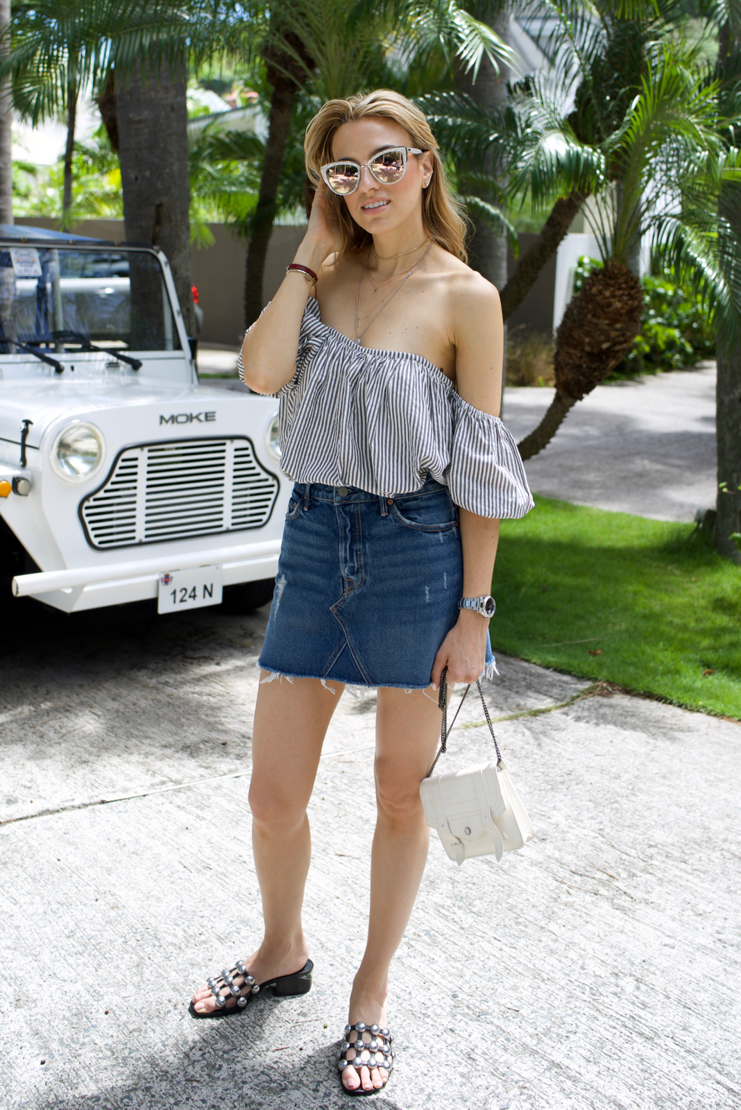 St. Barths Denim Mini Skirt, Quay Sunglasses, Tularosa top, revolve, Alexander Wang