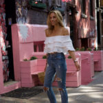Off the Shoulder top, Ripped Jeans & a Pop of Pink in Nolita