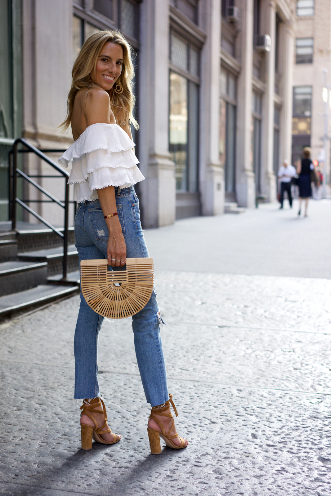 White off the shoulder top, Summer outfit