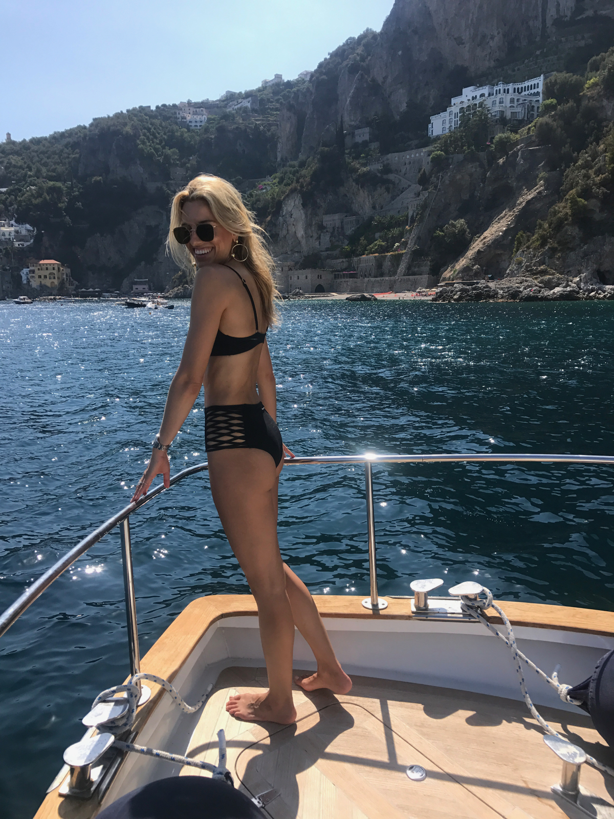 Positano boat must do, Summer in Italy, Amalfi Coast Travel, High Waist Bikini