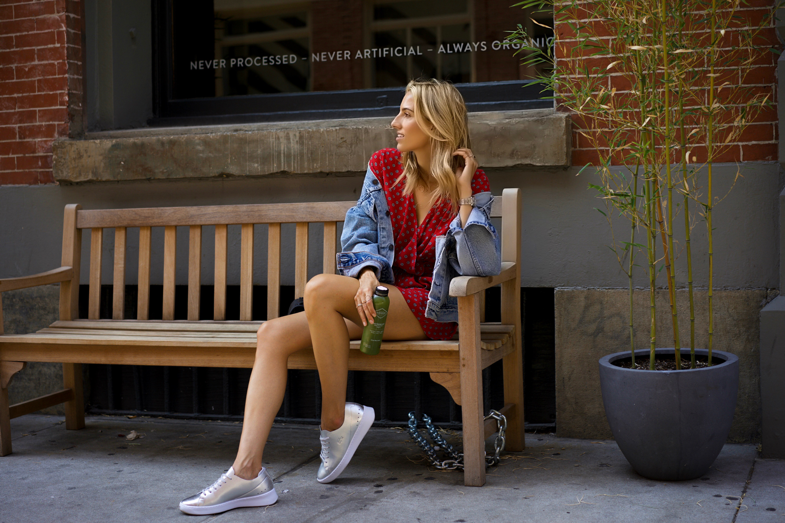 Lacoste sneakers, SoHo NYC, Red Romper, Vintage Denim Jacket, Round Sunglasses, Green juice
