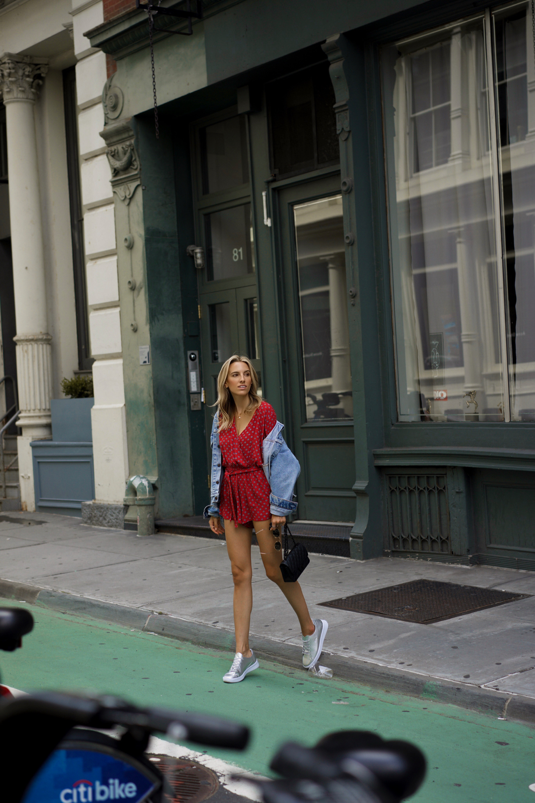 Lacoste sneakers, SoHo NYC, Red Romper, Vintage Denim Jacket, Round Sunglasses