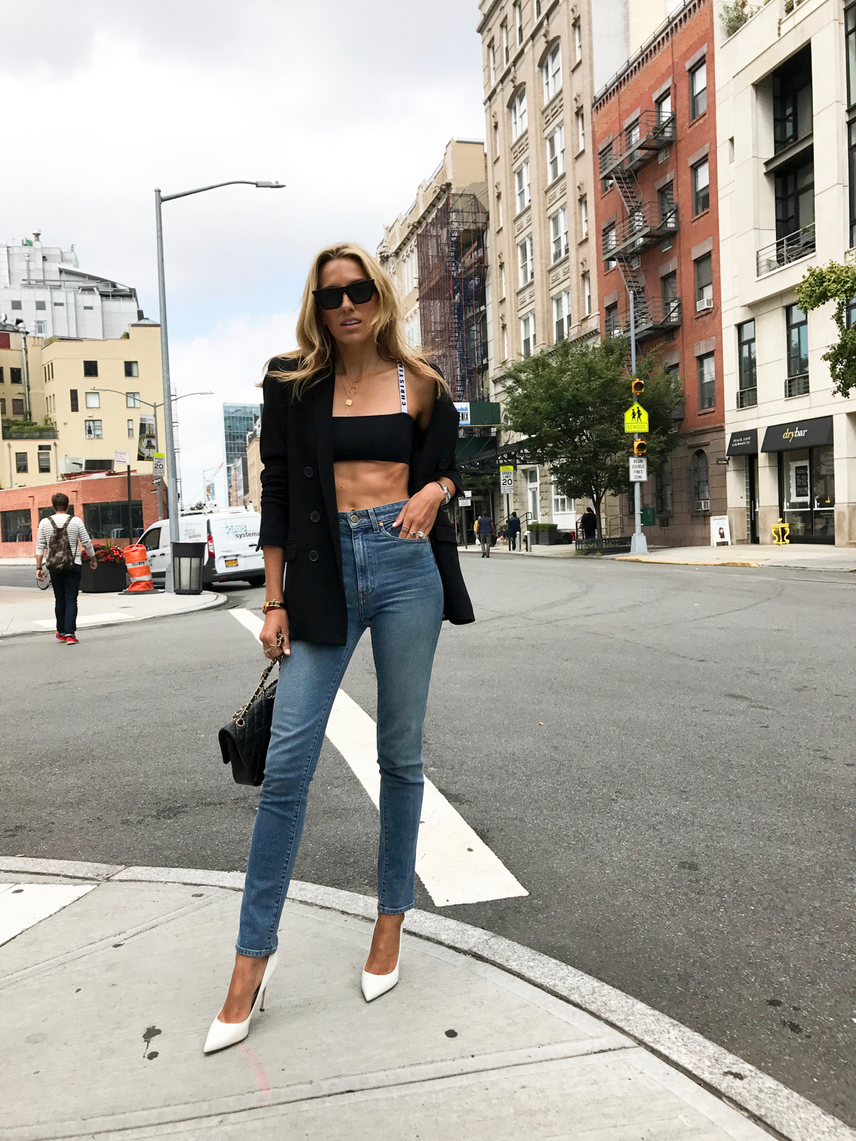 Dior Bralette, Celine Edge sunglasses, Khaite Jeans, White pumps, Double breasted blazer, Abs, NYFW, New York Fashion week street style