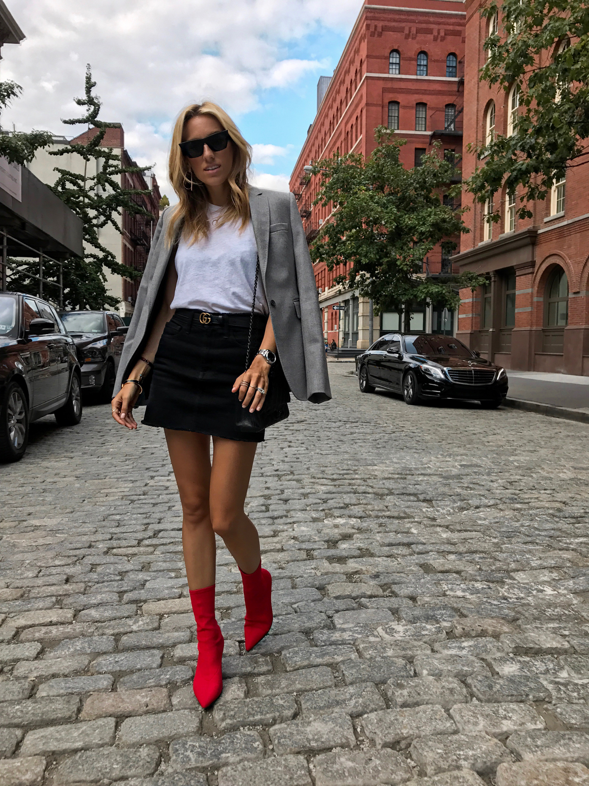 NYFW Street Style Spring 2018, New York Street Style, Chanel, What to Wear to Fashion Week, Red sock boots, must have fall shopping