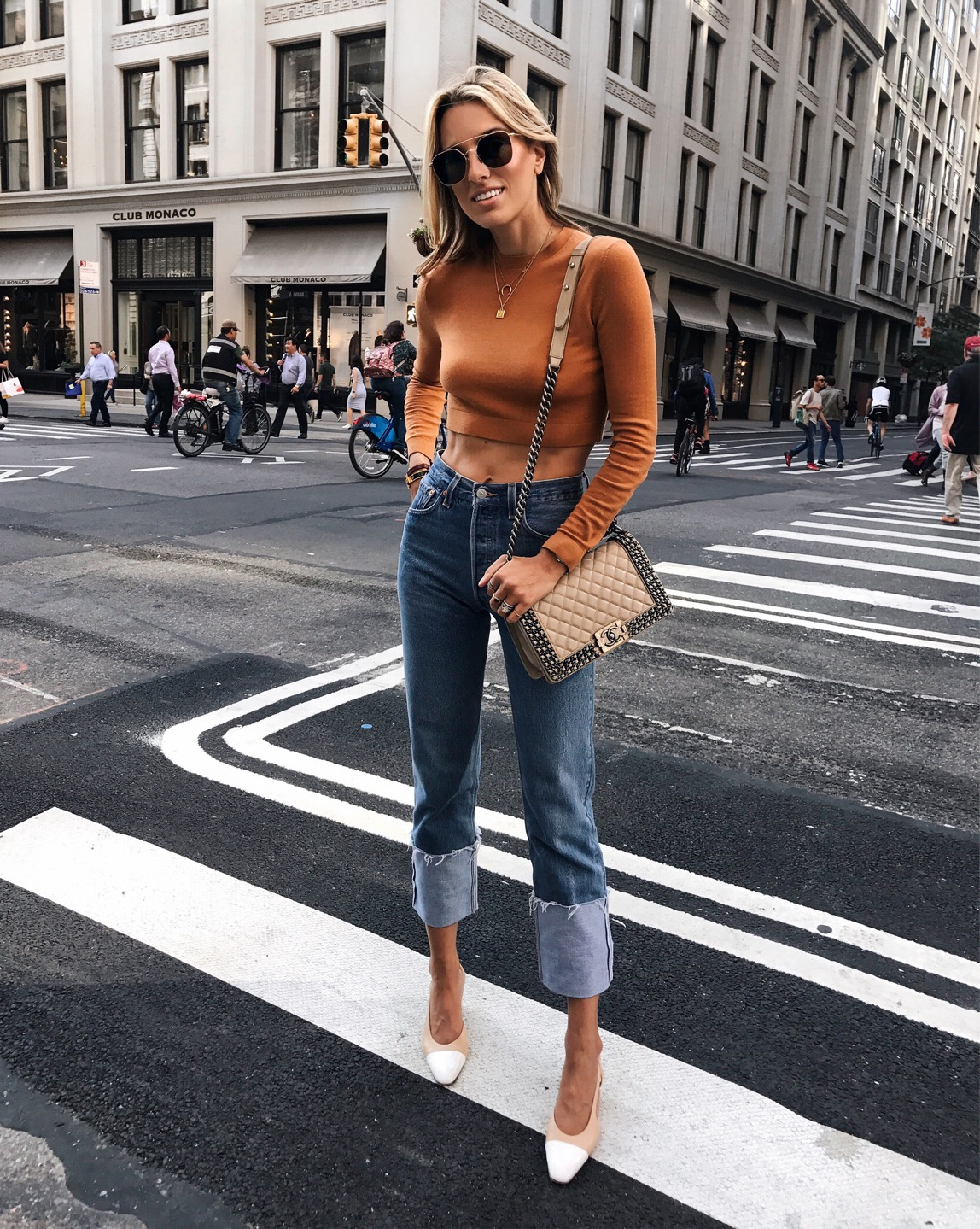 NYFW Street Style Spring 2018, New York Street Style, Chanel, What to Wear to Fashion Week, cuffed jeans, cropped sweater