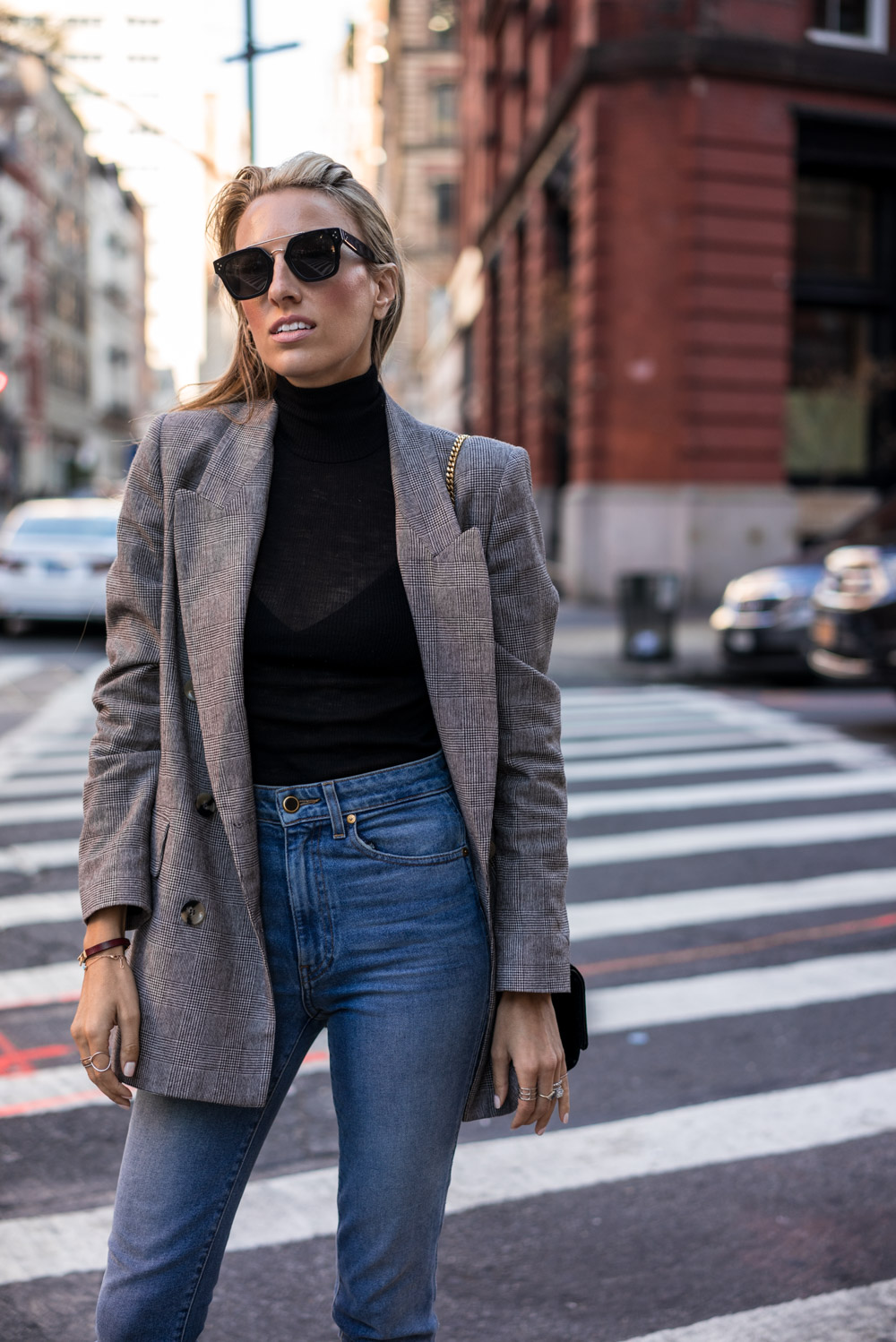 Celine Sunglasses, Khaite jeans, Fall must haves, Grey Check blazer, Red sock boots, High waisted jeans, Velvet Saint Laurent Bag