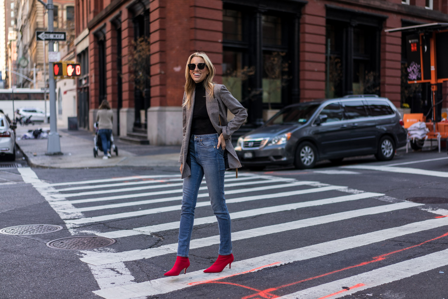 Fall must haves, Grey Check blazer, Red sock boots, High waisted jeans, Velvet Saint Laurent Bag