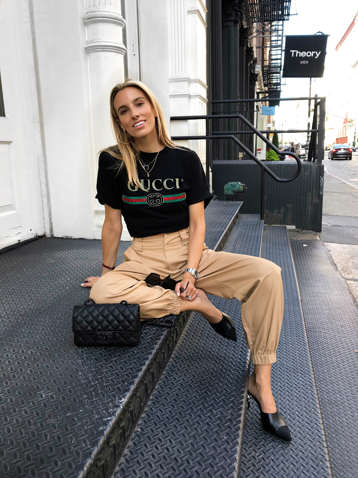Gucci Logo tee, I.Am.Gia Pants, Chanel bag, Celine Edge Sunglasses , Soho