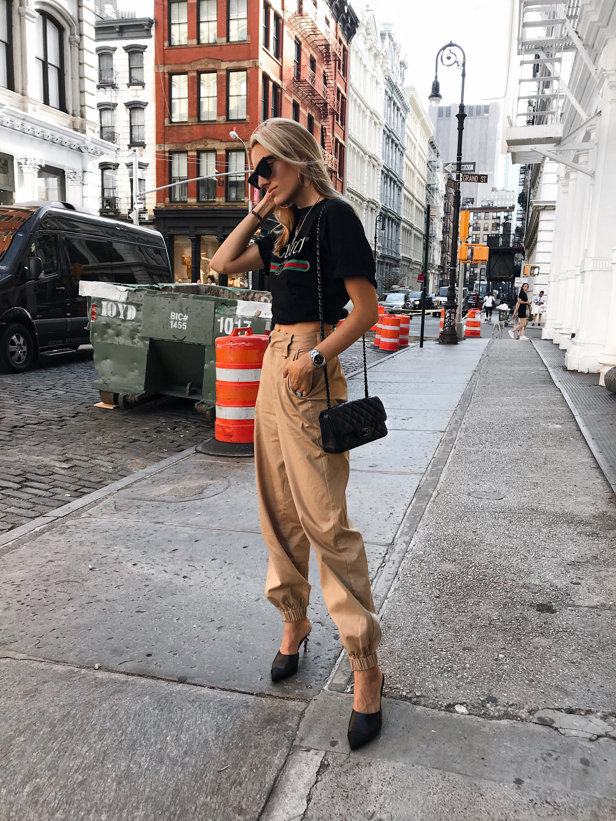 Gucci Logo tee, I.Am.Gia Pants, Chanel bag, Celine Edge Sunglasses , Soho Street Style, New York City