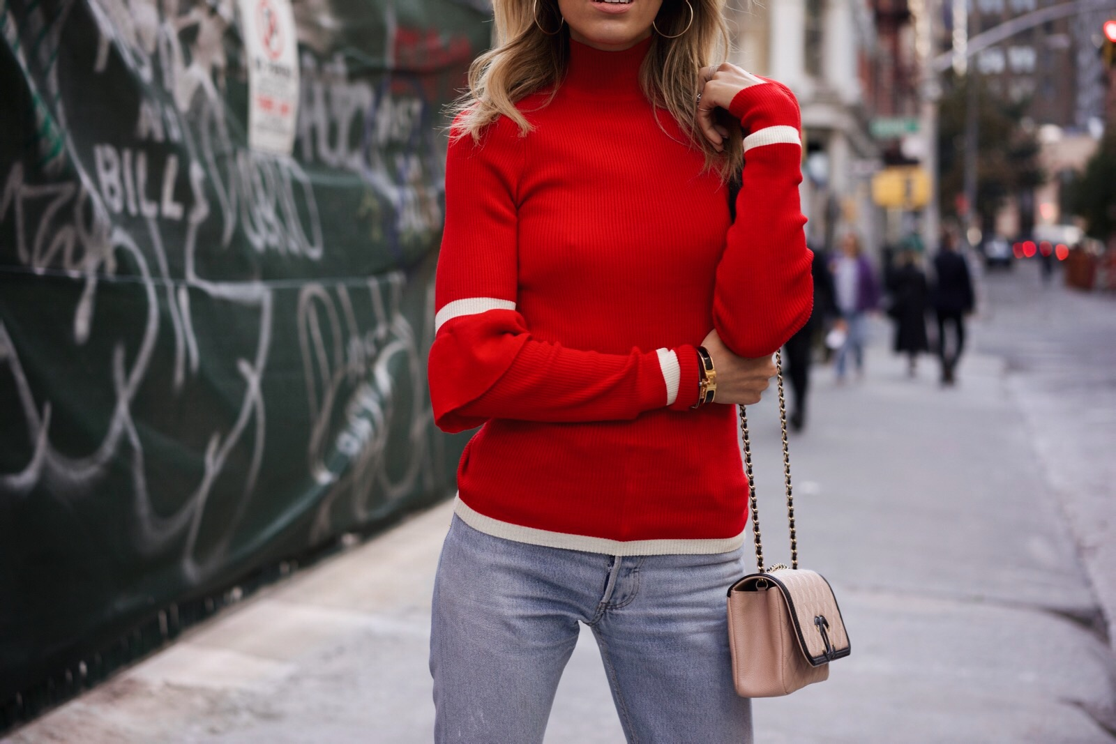 How to wear red, Fall must-haves, red knit, levis, Ruffle sleeve sweater