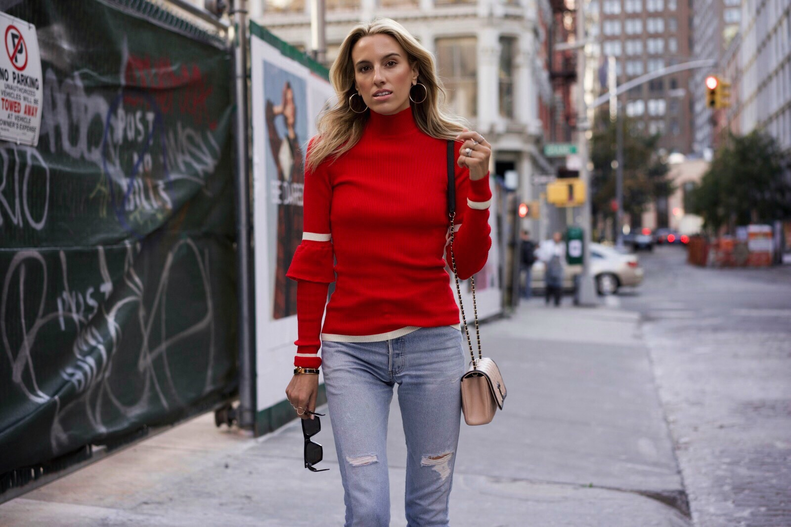 How to wear red, Fall must-haves, red knit, levis, Chanel bag