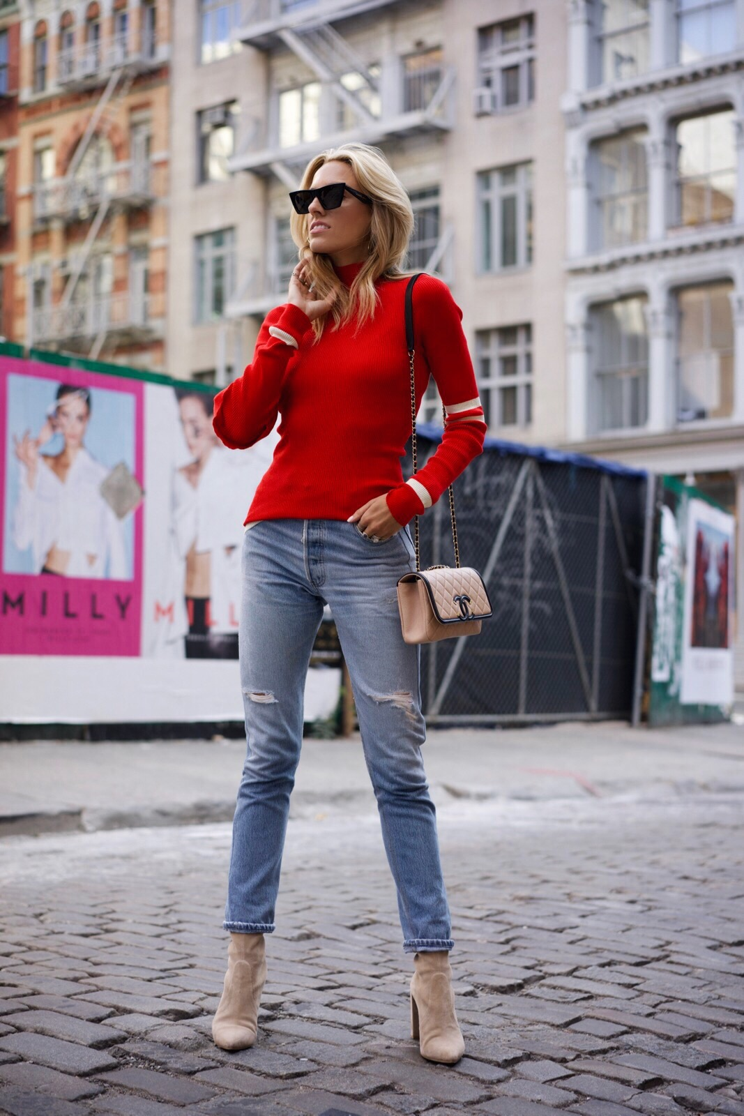 How to wear red, Fall must-haves, red knit, levis, Celine, Chanel