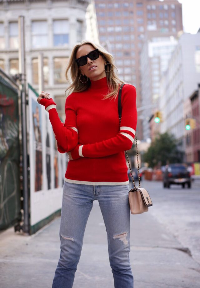 How to wear red, Fall must-haves, red knit, levis