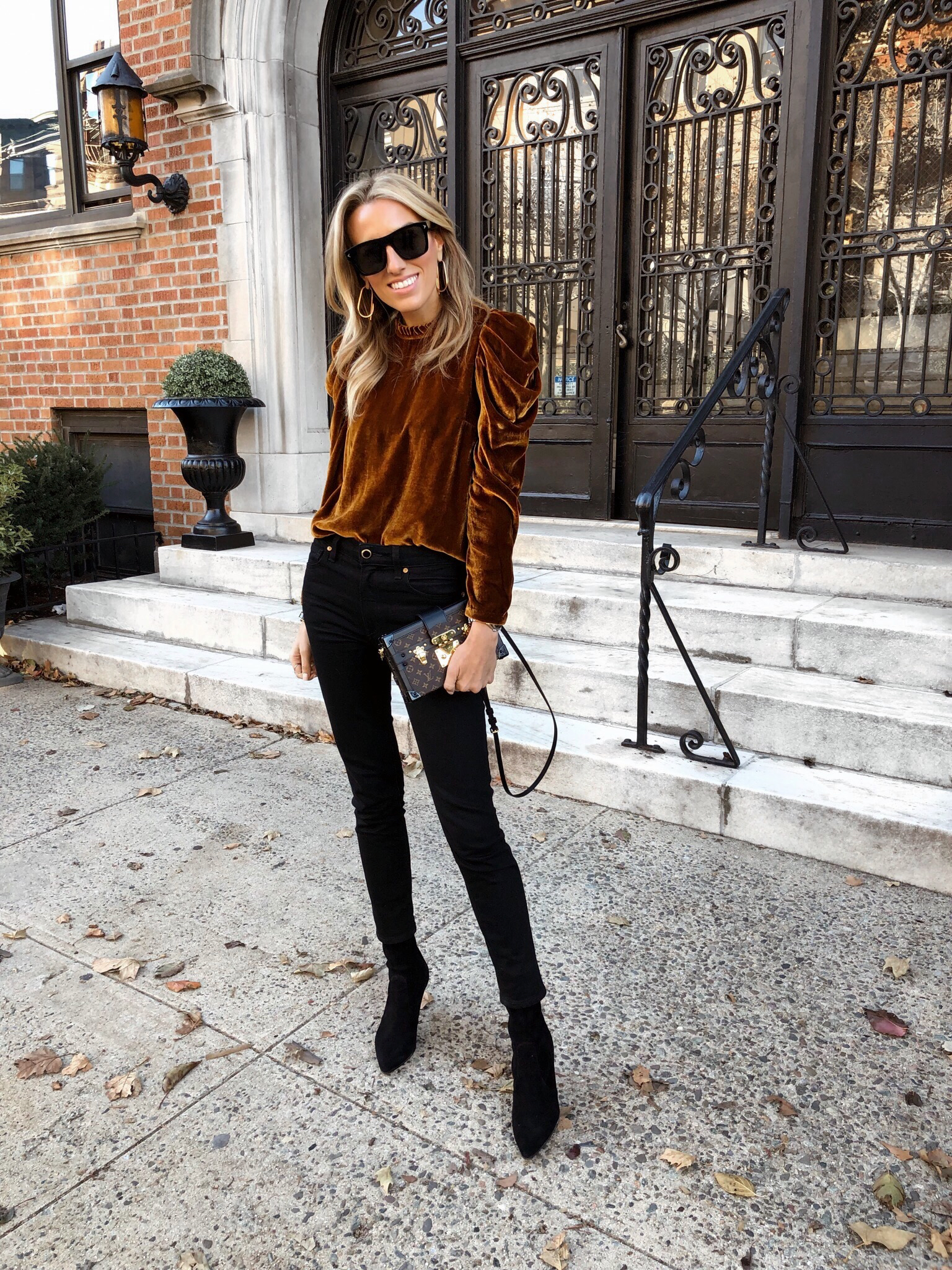 Velvet top, Black jeans, Louis Vuitton, Givenchy, Stuart Weitzman boots