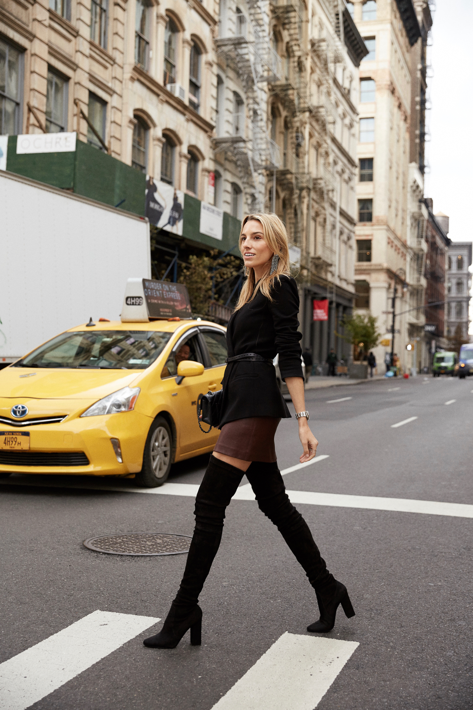 Tamara Mellon, Holiday Outfit, What to Wear for the Holidays, Boots, Leather, Celine, NYC Streetstyle