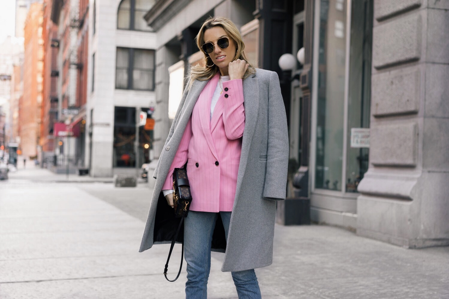Pink and white, White boots, Ganni pink blazer, Grey coat, Louis Vuitton bag, spring inspiration, Ahlem