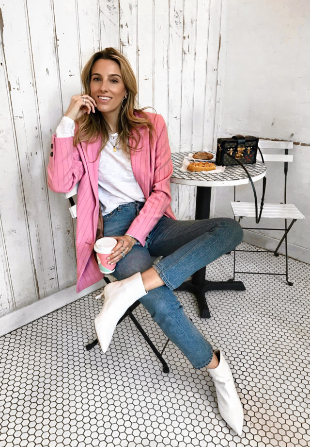 Ganni, Pink and white, White boots, Ganni pink blazer, Grey coat, Louis Vuitton bag, spring inspiration