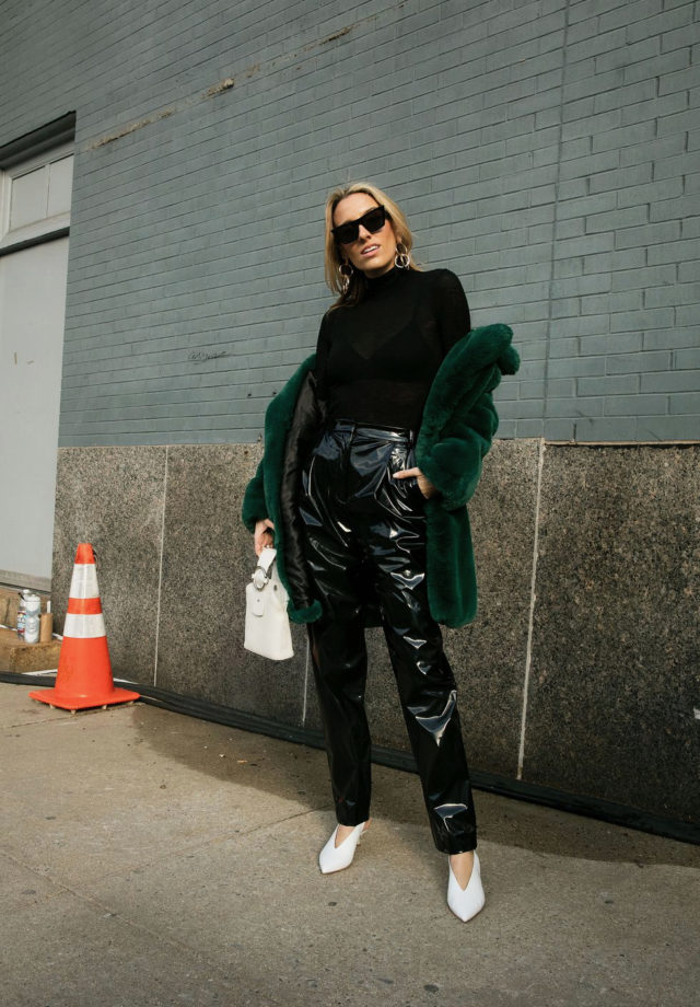 NYFW street style, What they are wearing, patent leather, green faux fur, Tibi, Celine, IT bag